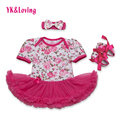 Baby Girls Dress Rose Flower Short Sleeve Cotton with Bow Headband for 0-2 Years Kids Infant Baby Girl Clothing Set