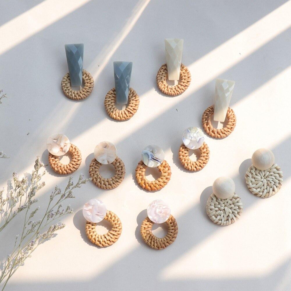 2018 Модные ручной работы соломы переплетения ротанга лоза кос геометрический Круглый Большой Круг длинные висячие серьги для женщи купить на AliExpress