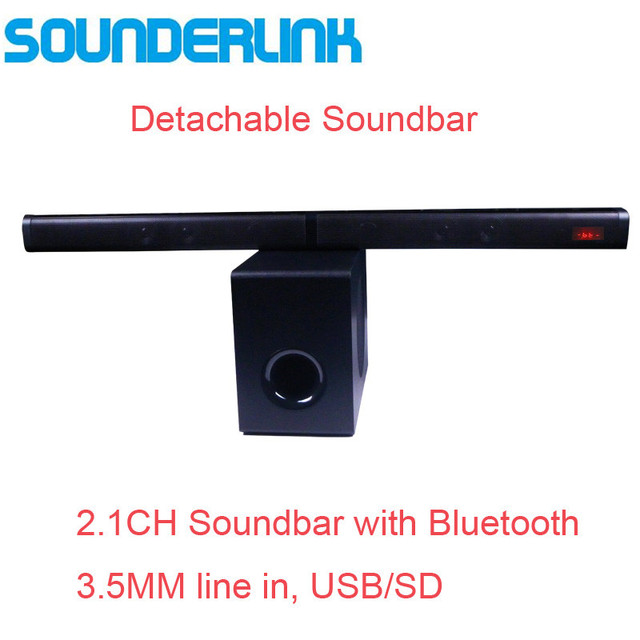 Sounderlink 2.1CH Bluetooth TV soundbar with subwoofer optical USB TF vitual 3D surround sound home theater system