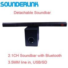 Sounderlink 2.1ch bluetooth tv bar soundbar, com subwoofer óptico usb tf vitual 3d som surround, home theater