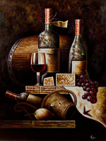Free Shipping Lot Set Classical Red Wine Bottle Oil Painting Still Life Canvas Printings On Canvas