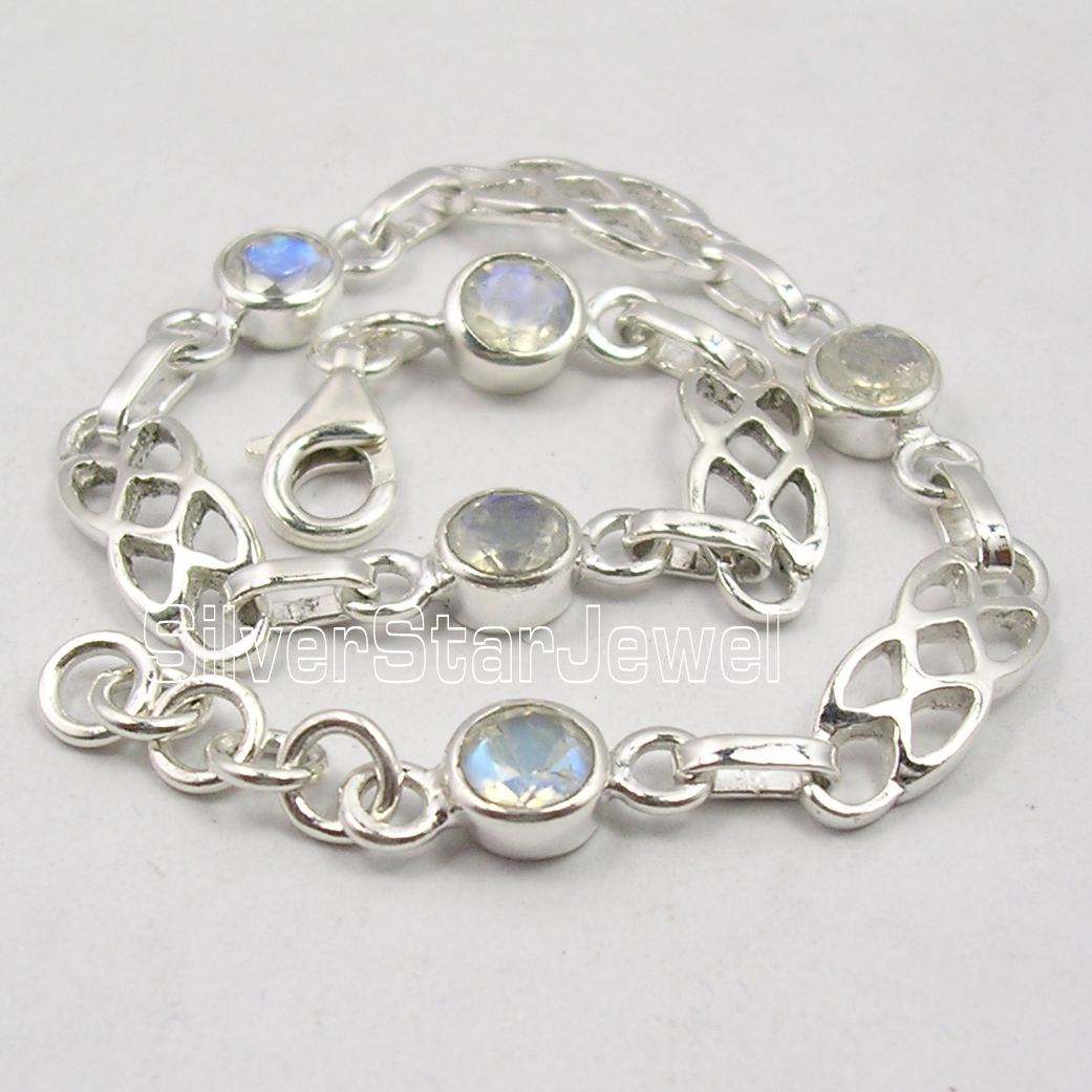Chanti International . Silver Original RAINBOW MOONSTONE DECO Cast Bracelet 7 5/8