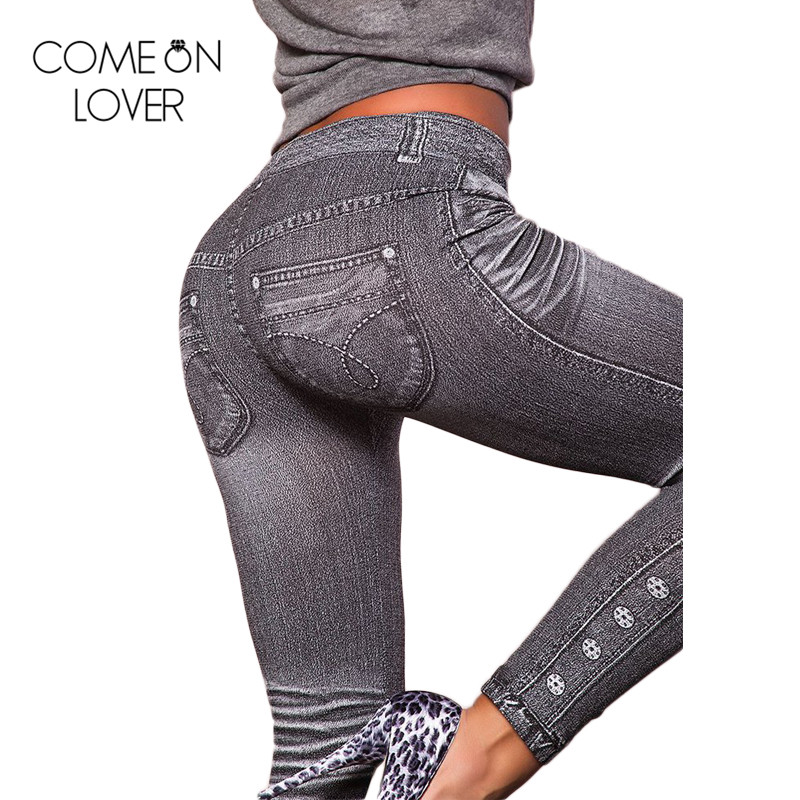 Comeonlover Legging Fitness-Pants Work-Out Cheap Wholesale Gray T2418 Jean-Type Imitate