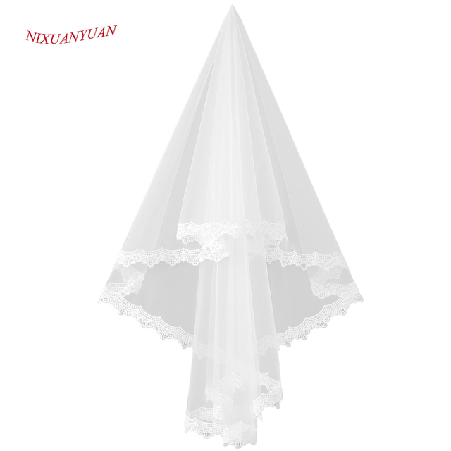 Free Shipping In Stock High Quality Cheap Short Wedding Veils White/Ivory One Layer Lace Bridal Veils 2016 Wedding Accessories