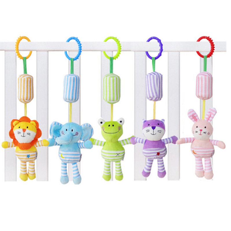 Cartoon Animal Frog Elephant Rabbit Cat Lion Hanging Toys For Kids Baby Crib Stroller Rattles Soft Newborn Plush Rattle Toys