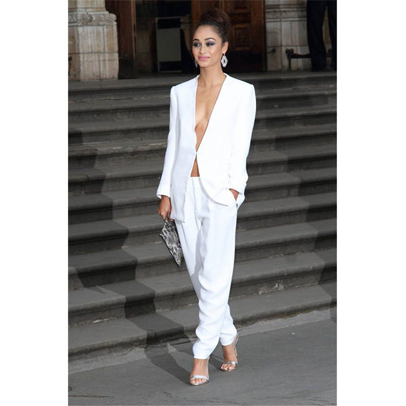Tailored White Womens Business Work Suits Female Office Uniform Elegant Pants Suits Blazer  B72