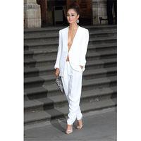Tailored White Womens Business Work Suits Female Office Uniform Elegant Pants Suits Blazer B72
