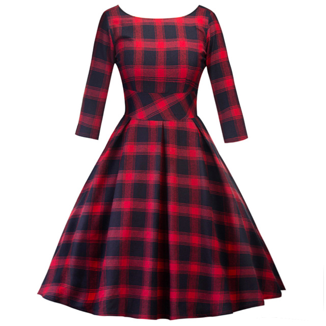 5289adc796 Kenancy Red Plaid Long Sleeves Vintage Women Dress Rockabilly Swing Cotton  Retro Dress 60s Feminino Party Vestidos Robe Gown