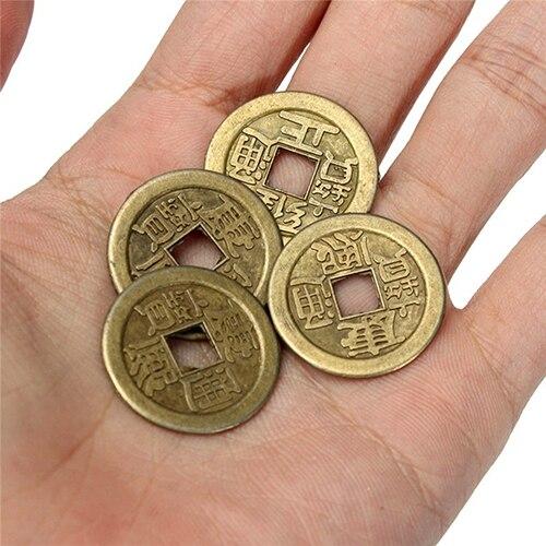 10 pçs sorte chinês fortuna moeda oriental imperador dinheiro conjunto buraco pendurado decoração