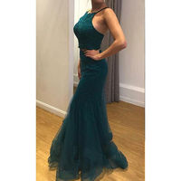 Vintage Halter Prom dress Dark green Long tulle evening gowns for women Ruched Appliques Mermaid Prom dress for black girls
