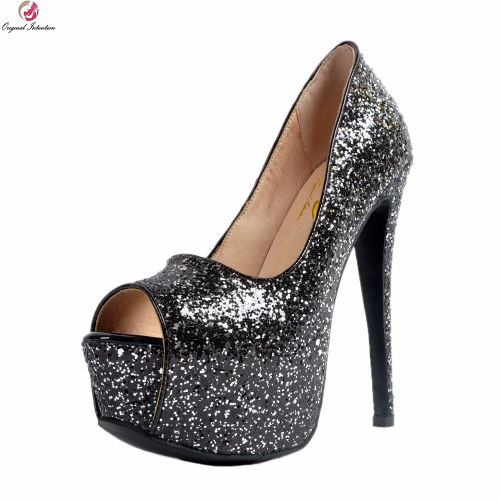 Original Intention Stylish Women Pumps Sexy Glitter Platform Peep Toe Thin High Heels Pumps Black Shoes Woman Plus US Size 4-15 apoepo brand 2017 zapatos mujer black and red shoes women peep toe pumps sexy high heels shoes women s platform pumps size 43