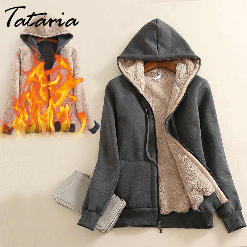 Женское кашемировое зимнее теплое пальто Базовая куртка мода 2019 Толстая парка бархатное женское теплое пальто с капюшоном Женская куртка зимняя