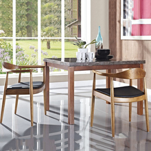 Nordic Wooden Dining Chair American Vintage Home Furniture Coffee Restaurant Bedroom Study Casual Simple with Armrest Back