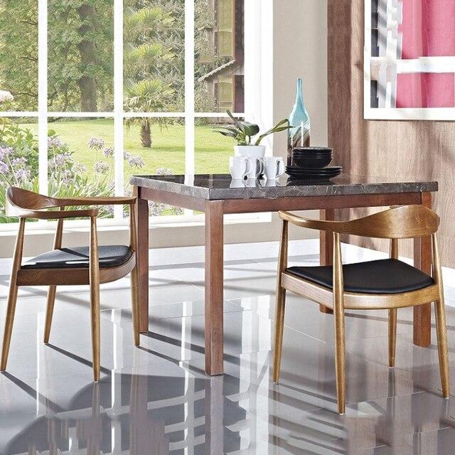 Silla de comedor madera nórdica muebles hogar Vintage americano café  restaurante dormitorio estudio Casual Simple con reposabrazos silla trasera