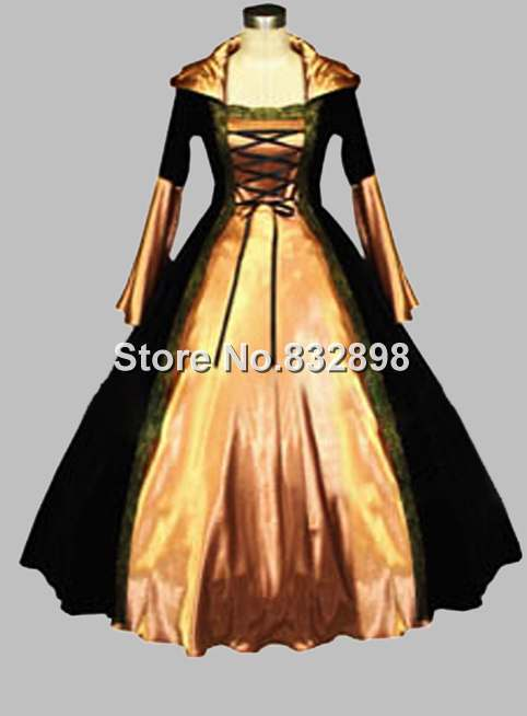 Gothic Black and Champagne Euro Court Princess Dress Witch Costume ...