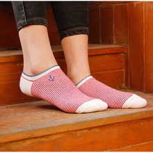 2019 Socks women Navy style spring and summer fashion casual striped embroidery boat socks anchor womens
