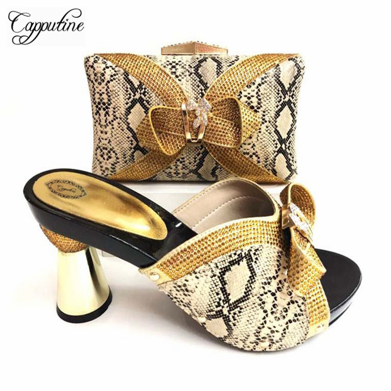 Capputine 2018 African Elegant Shoes And Bag To Match Set High Quality Nigerian Pumps Shoes And Bag Set For Wedding 7Colors Sale capputine african style shoes and bag to match high quality italian shoes and bag set nigerian party shoe and bag set wedding
