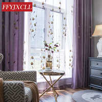 Korean Rural 85% Shading Curtains for Bedroom Window for Living Room Elegant Drapes Stereoscopic Embroidered Blackout Curtains