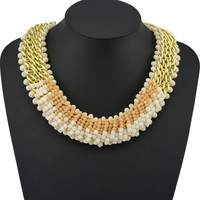 European And USA Fashion Exaggerated The Latest High Quality Crystal Beads Necklace Pendant Chunky Gold Collar