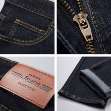 Big Size 28-48 Man Jeans High Stretch Straight Long Slim Trousers Fashion Casual Black Blue Denim Male Business Jeanswear Pants