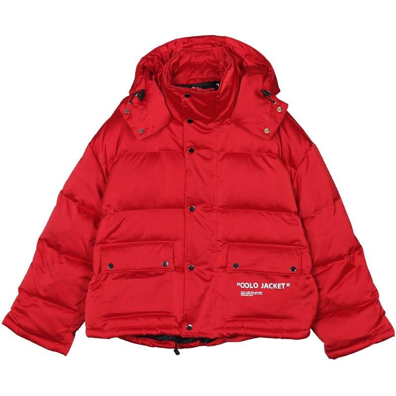 Épais Femelle Z991 Lettre Parka Mode À Red Chaud Lâche Casual Rouge Ouatée Coton Nouveau Manteau Veste Imprimer Longues Femmes D'hiver Manches Capuche qrRrtg