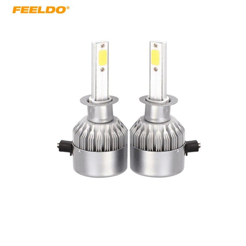 Feeldo 1 пара светодиодных фар автомобиля 2-удар 6500 К <font><b>C6</b></font> 72 Вт 7600LM <font><b>H1</b></font> авто светодиодные лампы Foglight фары # AM2879