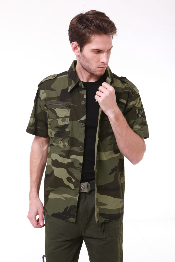 High Quality Cotton Mens Military Style Usa Army Camouflage Fighting Shirts Cargo Shirts Short Sleeve Casual Shirt Army Green.