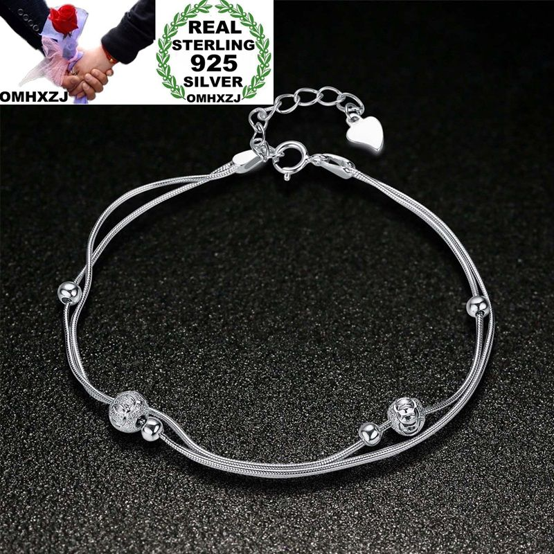 OMHXZJ Wholesale Personality Fashion OL Woman Girl Party Wedding Gift Silver Beads Two Lines 925 Sterling Silver Bracelet BR14OMHXZJ Wholesale Personality Fashion OL Woman Girl Party Wedding Gift Silver Beads Two Lines 925 Sterling Silver Bracelet BR14