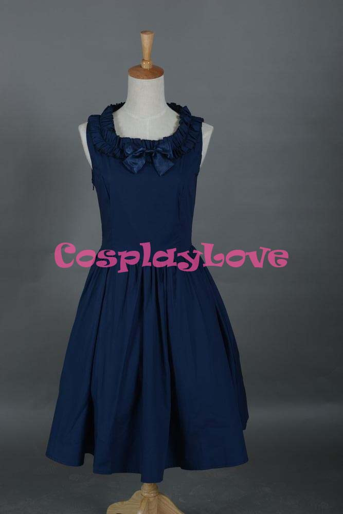 Blue Lolita Dress Punk Gothic Cotton Cosplay Costume Custom-Made For Halloween Christmas Birthday CosplayLove