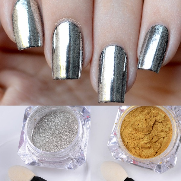 1g 1 Box Born Pretty Gold Silver Shinning Mirror Nail Glitter Nail Art Gel Polish Mirror Powder Dust DIY Chrome Pigment Glitters