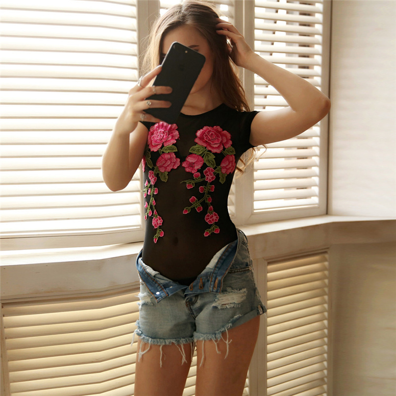 2018 Hot Bodysuit Women Jumpsuit Sexy Rompers Floral Appliques Sheer Mesh Overalls for Women Bodysuit Sexy Playsuit #XC3140