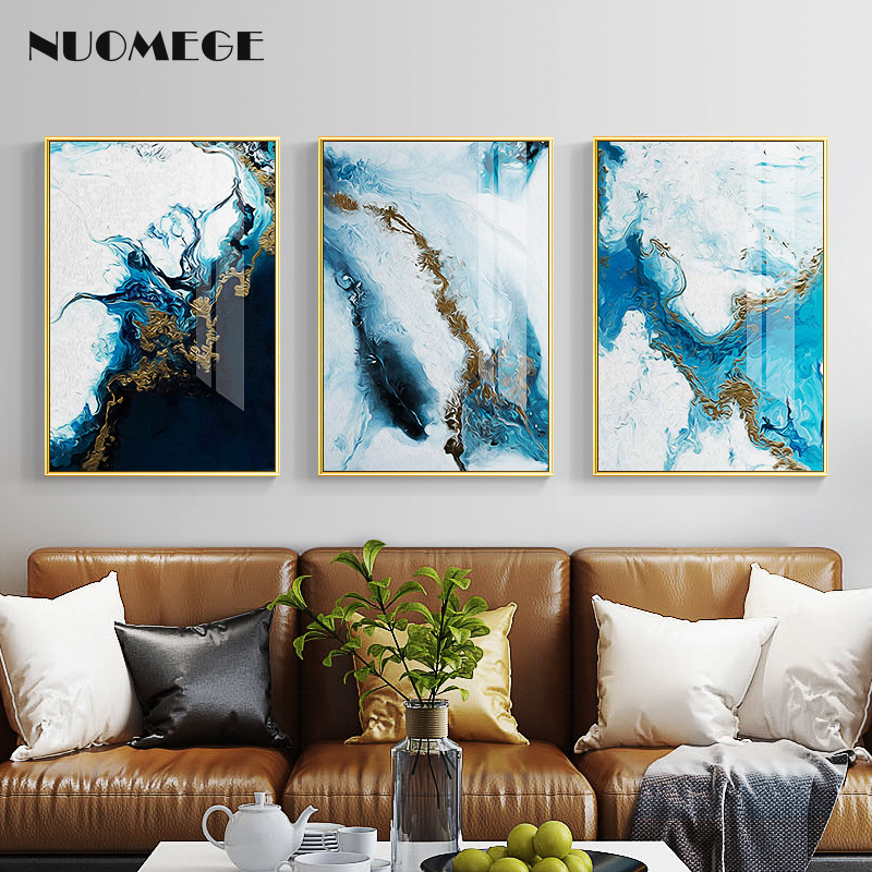 Abstract Canvas Painting Blue Golden Color Wall Art
