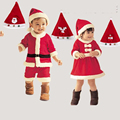 Unisex Christmas Costumes for Baby Girl Baby Boy 2016 New Fashion Children Clothing Set Dress&Hat Kids Baby Clothes Set