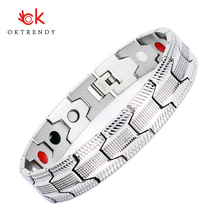 Oktrendy Health Magnetic Therapy Bracelet Men Jewelry silver 316L Stainless Steel 4 Elements Bracelets & Bangles fashion men magnetic bracelets silver color titanium steel healthy therapy bracelet for mens cuff bangles wristband jewelry