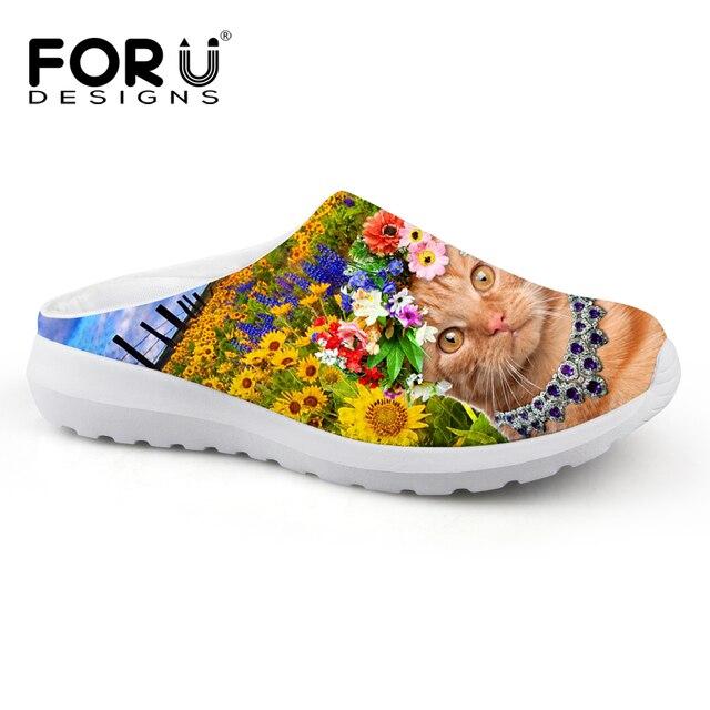 separation shoes 63d8f bed0d US $23.99 25% di SCONTO|Forudesigns style estate uomo ciabatte zoccoli  sandali uomo scarpe casual slip on appartamenti pantofole animale sveglio  cat ...