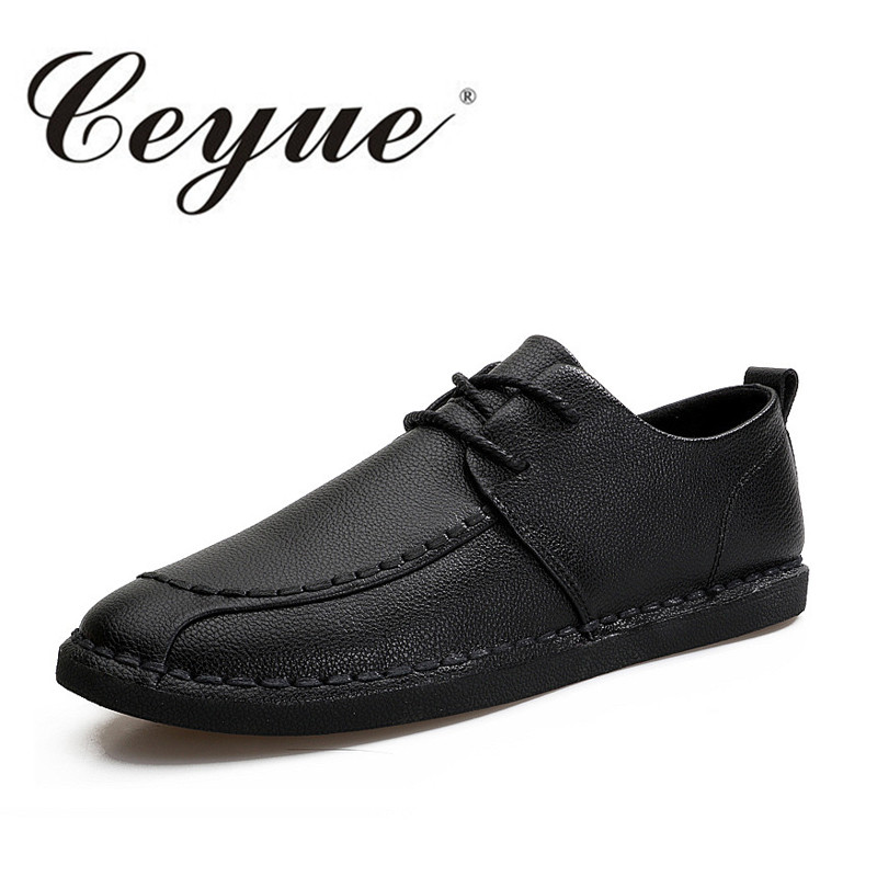 Ceyue Summer New Handmade Men Casual Shoes Quality Leather Office Lace Up Men Loafers Walking Comfort Moccasins Boat Shoes Men cbjsho brand men shoes 2017 new genuine leather moccasins comfortable men loafers luxury men s flats men casual shoes