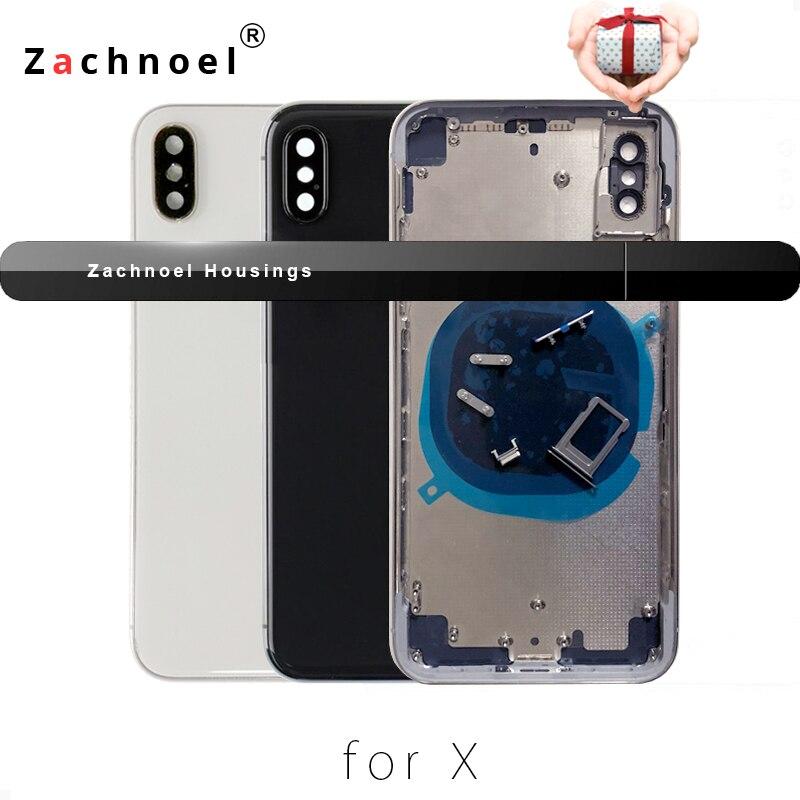 Retour Logement pour iPhone X 10 Dix couvercle du compartiment de pile Cas Cadre Moyen Châssis Corps pièces de rechange Espace Gris Blanc