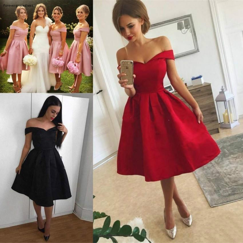 2019 Knee Length   Bridesmaid     Dress   Short Western Summer Country Garden Formal Wedding Party Guest Maid of Honor Gown Plus Size
