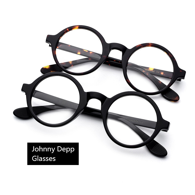 Johnny Depp Eyeglasses Men Women Optical Glasses Frames Brand Design Computer Round Goggles Male Acetate Vintage Z314-2