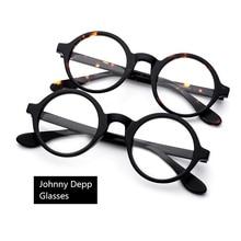 Johnny Depp Eyeglasses Men Women Optical Glasses Frames Brand Design Computer Round Goggles male Acetate Vintage Z314-2