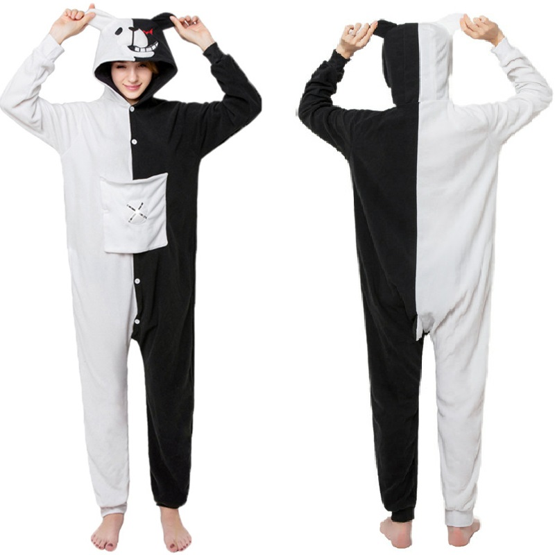New Unisex Adult Animal Monokuma Pajamas Cartoon Black White Bear Onesie Cosplay Costumes Jumpsuits Christmas Costume S-XL