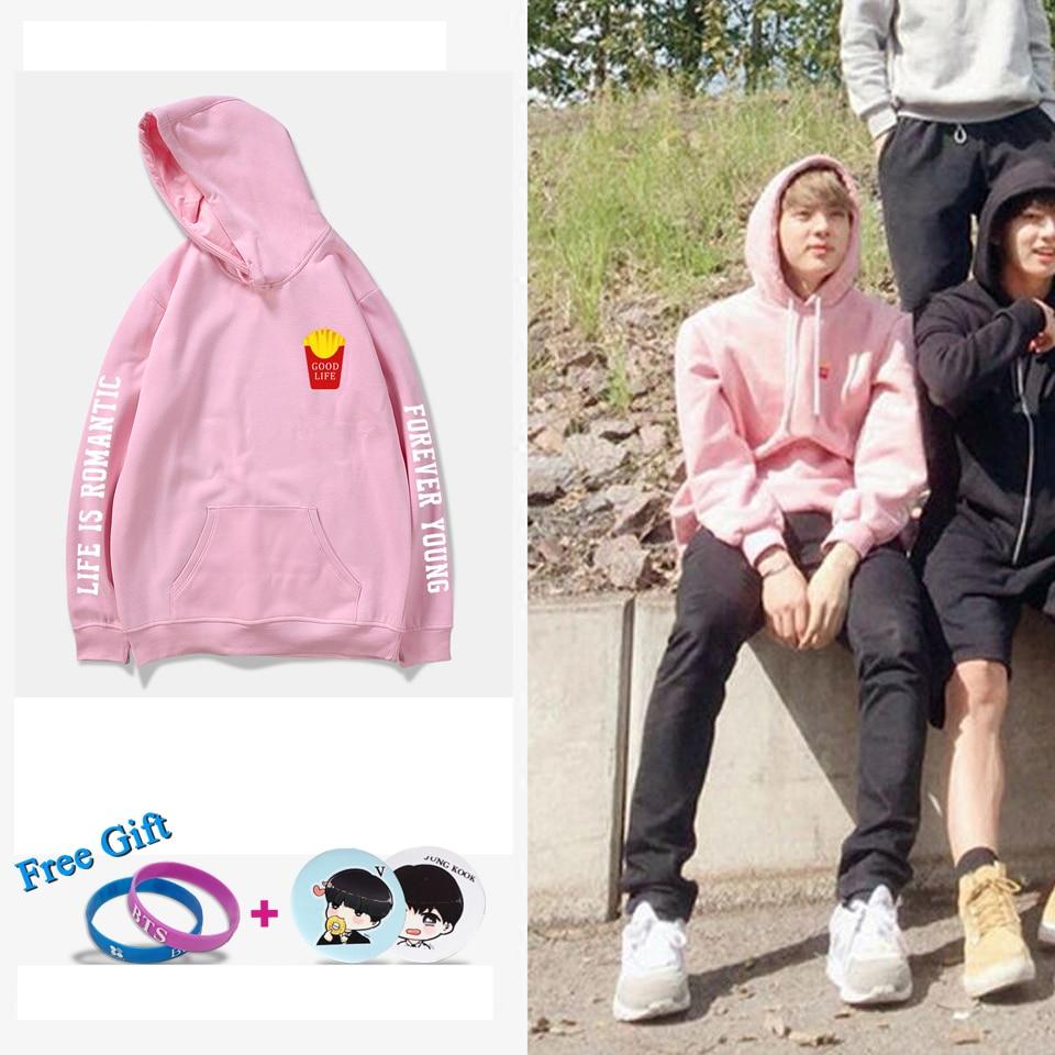 BTS 2018 BTS Kpop GOOD LIFE JIN Same Style Kpop Hooded Sprin