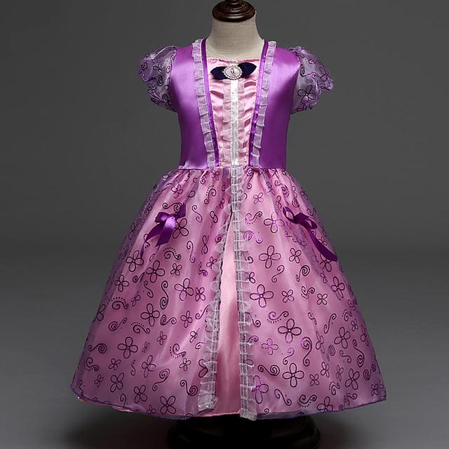 2017 de Halloween princesa de la Muchacha del vestido de carnaval para niñas niño de año nuevo para las niñas vestidos de fiesta infantil del bebé Púrpura