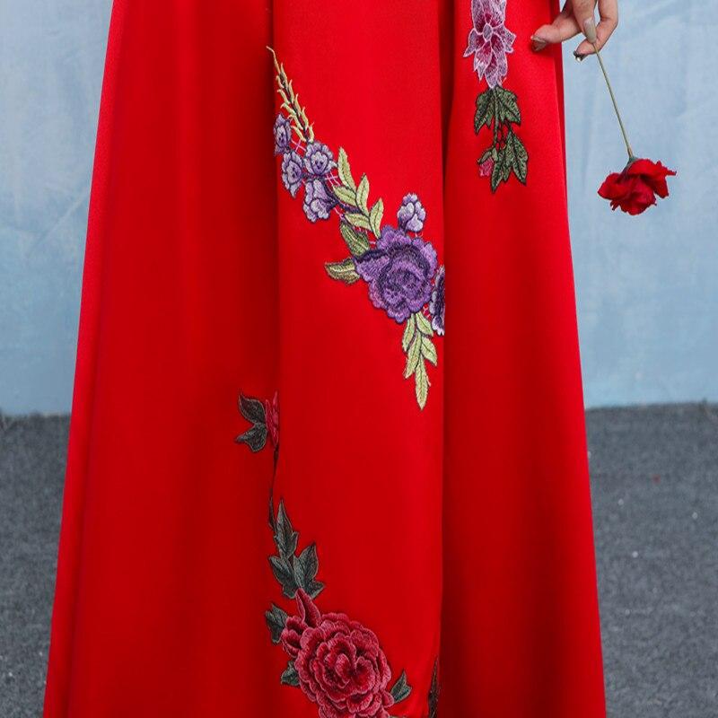 f3964309b8183 Vestito da sera Abendkleider 2019 Design di Colore Rosso Borgogna Abiti da  ballo In Raso Con Fiori Abiti Da Sera di A line Lungo Robe De Soiree in  Vestito ...