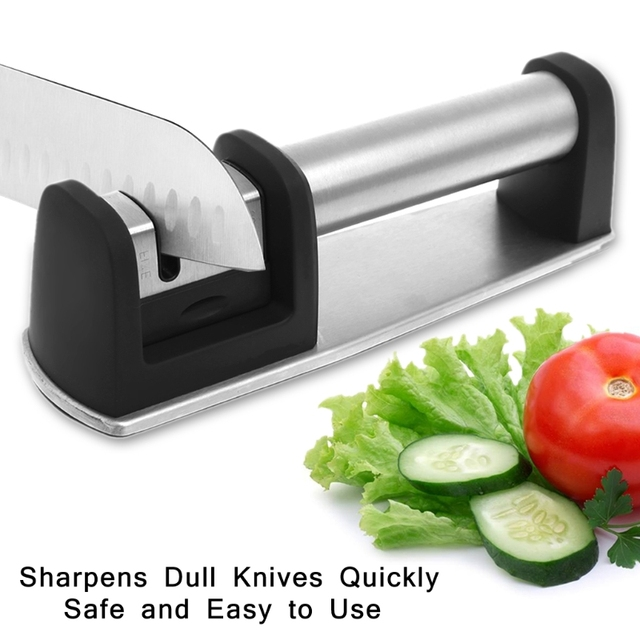 OOTDTY Stainless Steel Knife Sharpener 2-Stage Sharpening System for Straight Serrated Knif Kitchen Kit