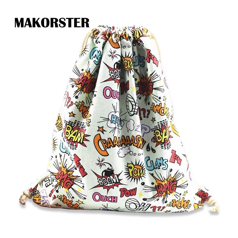 Makorster мода письмо, сумка рюкзак Drawstring Bagpacks Холст Рюкзаки Дешевые печати женский рюкзак MK232