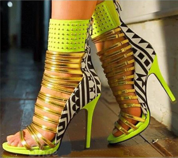 Peep Sandalia Gladiador Strappy Moda Oro Impreso Talón Stiletto Bootie Toe as Bombas Correa color Leather Showed Color Tobillo Multi As Color Corte wx8tt0qIr