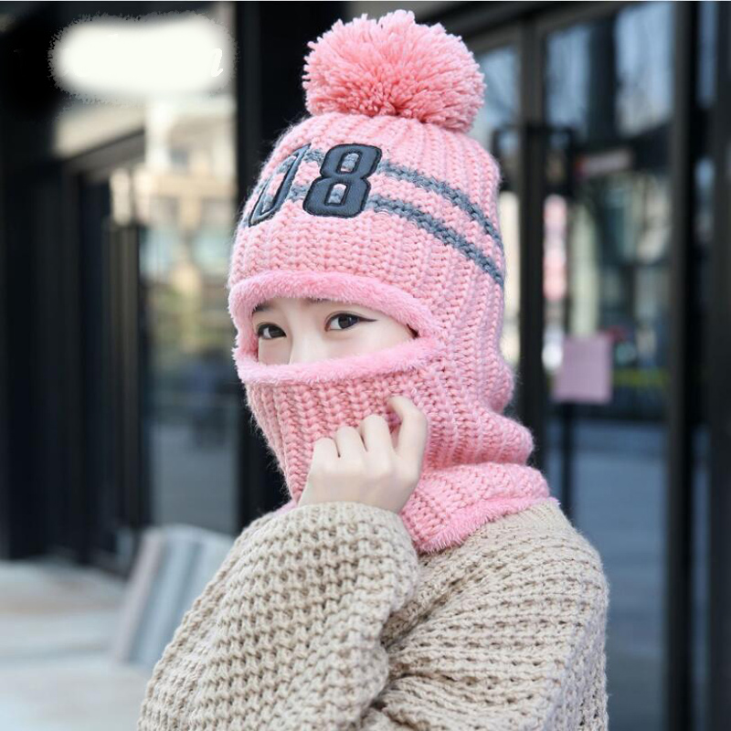 Winter Warm Knitted Caps Soft Pom Pom   Beanie   And Neck Warmer Scarf Women   Skullies   face mask   Beanies   neck warm cap