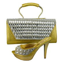 Italian Shoes With Matching Bag High Quality For Wedding Women Sandal Fashion African Shoes And Bag Set To Match 1308-34