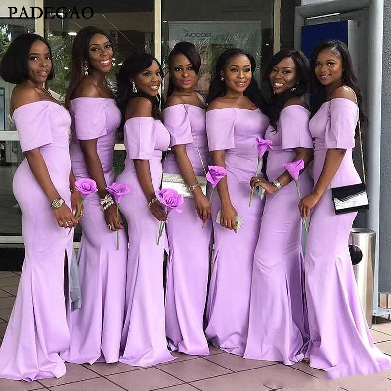 Sexy   Bridesmaid     Dresses   Fitted Mermaid Jewel Neck Halter Backless Light Purple Wedding Party Formal Wear with Ruffles